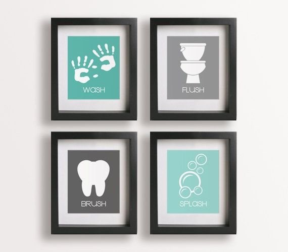 Bathroom wall decor kids handprints craft ideas for Bathroom wall pictures