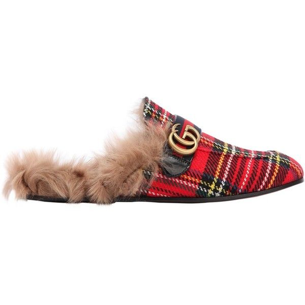 Gucci Men New Princetown Fur Lined Tartan Slippers ($820) ❤ liked on Polyvore featuring men's fashion, men's shoes, men's slippers, red, mens red slippers, mens tartan slippers, mens leather soled slippers, leather sole mens shoes and gucci mens slippers