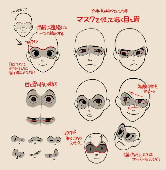 """""""前にディズニーのキャラクターデザイナーさんが説明していたマスクを使った目と眉の描き方が面白いな〜と思って自分向けにメモしたやつ。バランスがとれやすいのと表情に悩んだ時に役立ってます"""""""