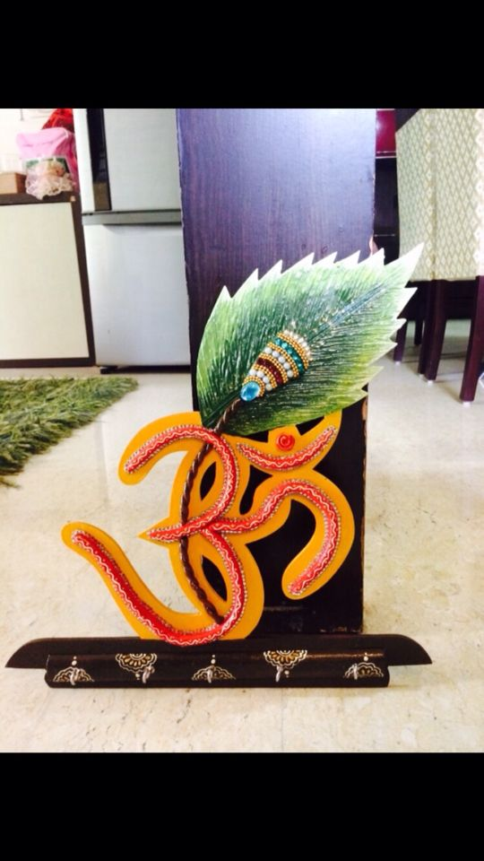 Om wooden base key holder  Handcrafted and a beautiful piece for your homes  Diwali gifts