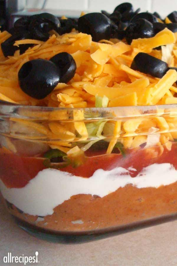 "Seven Layer Taco Dip | ""This dip is the best! I get more compliments on it and never have leftovers. I think the secret is in adding taco seasoning to the beans."" -AEROGRRL"