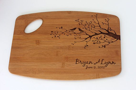 Wedding Gift! Personalized/Engraved Cutting Board with Birds & Tree/Tree Design 11Hx15L, Personalized Wedding Gift, Bamboo, Custom Cutting Board