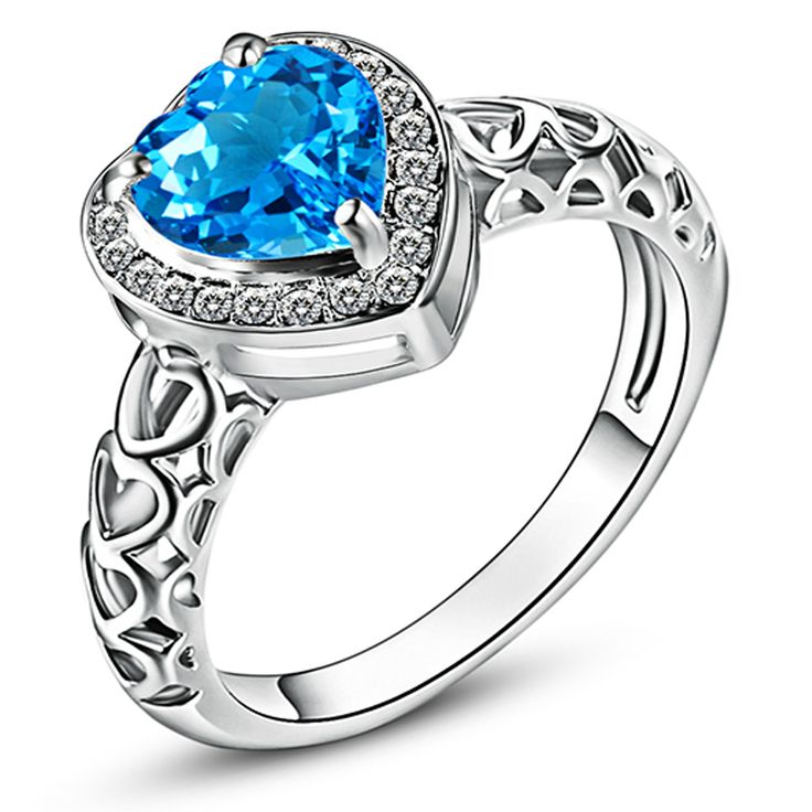 Silver Plated Wedding Rings for Women Jewelry Love Engagement  Heart London Blue Topaz White CZ Diamond Fashion Band