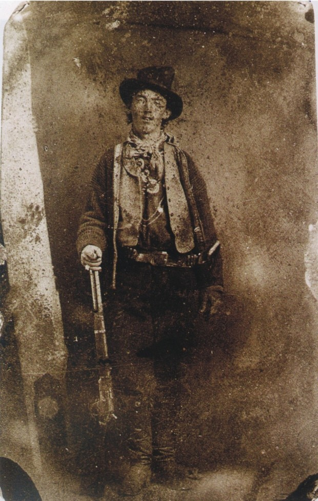 """""""The only known authenticated portrait of the Billy the Kid. It is believed to have been taken in 1879 or 1880 in Fort Sumner, New Mexico. Billy the Kid gave the image to a friend, Dan Dendrick, in whose family it has remained ever since."""" (John Pollock)"""