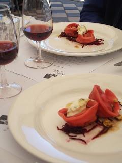 Degustation lunch - kangaroo tail and beetroot tortellini http://jouljet.blogspot.com/2012/10/degustation-lunch-at-capital-wines.html