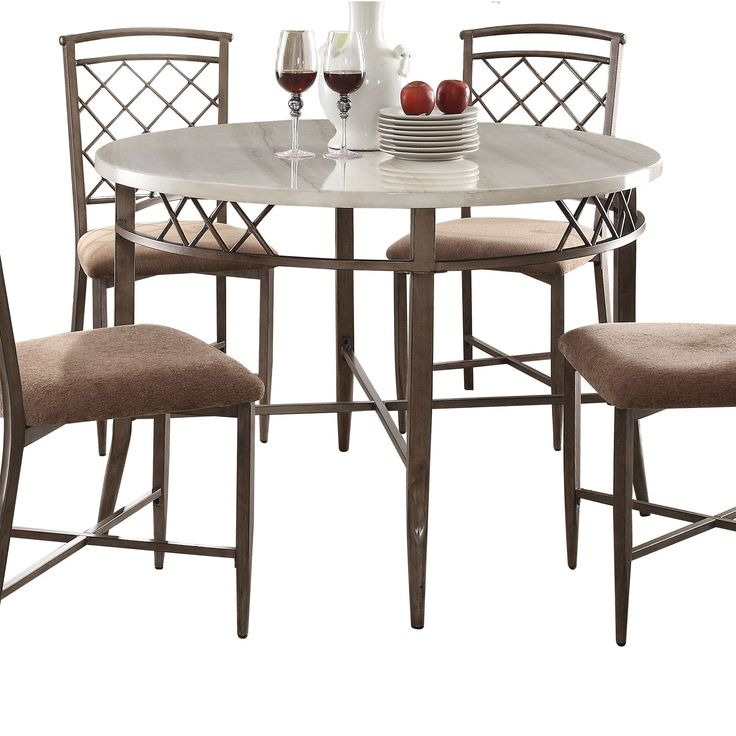 Acme Furniture Aldric White Faux Marble Dining Table (Dining Table, Faux  Marble U0026 Antique
