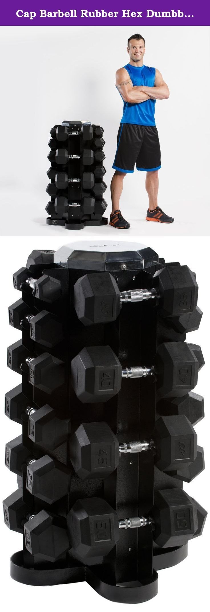 Cap Barbell Rubber Hex Dumbbell Set, 550-Pound. CAP Barbell SDRS-550 550 pound Rubber Hex Dumbbell Set - 5-50 pounds in 5 pound increments, with 4 sided vertical dumbbell rack. Ideal for commercial or home use.