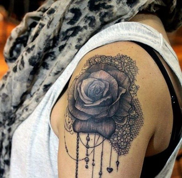Black Rose and Lace Tattoo.