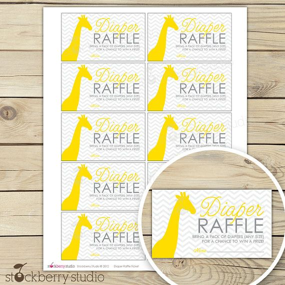 Cute idea to get nappies... (and if you have a prize to give away) Yellow and gray chevron giraffe baby shower diaper raffle ticket