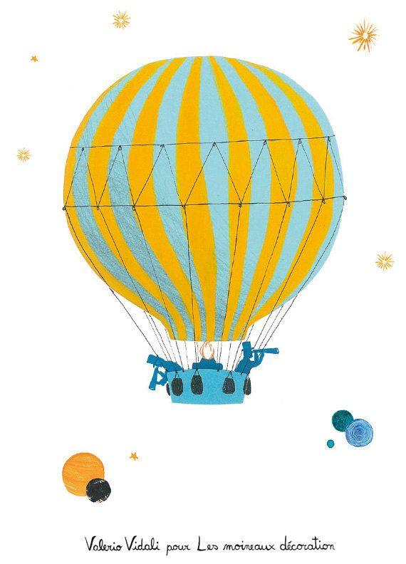 Children's poster : The balloon - kids wall art - kids poster - boy poster. $20.00, via Etsy.