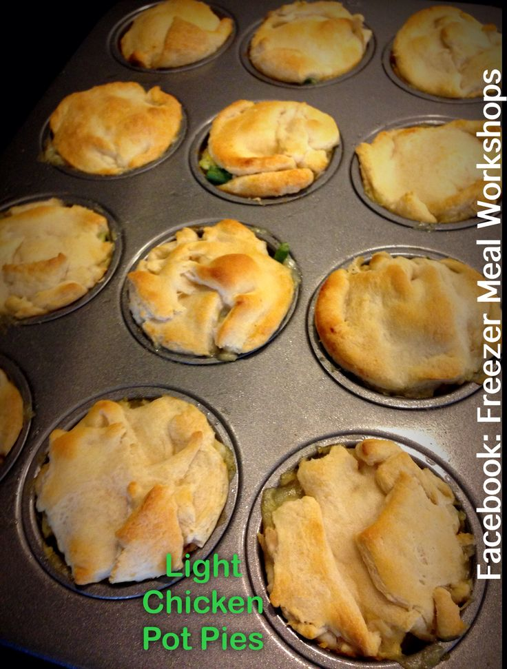 Healthy Chicken Pot Pie! The best pot pie EVER!   1 box of Tastefully Simple Perfectly Potato Cheddar Soup turns into 4 regular pot pies or 40 individual pot pies!! https://www.facebook.com/FreezerMealWorkshops