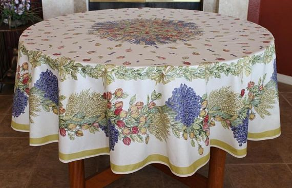 French Provence Roses Lavender Round Cotton Table Cloth French Table Linens Table Cloth Table Linens