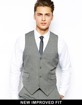 ASOS Slim Fit Suit Grey Pindot