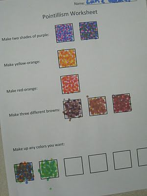 Pointillism Lesson Plans | Pointillism worksheet from Miss Young's Art Room blog.