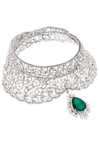 Diamonds and emerald drop set in 18K rhodium-polish gold necklace by Gehna Jewellers
