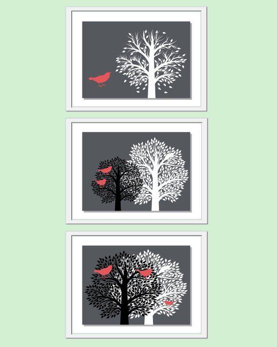 modern livingroom wall art, tree bird wall decor, tree bird wall art