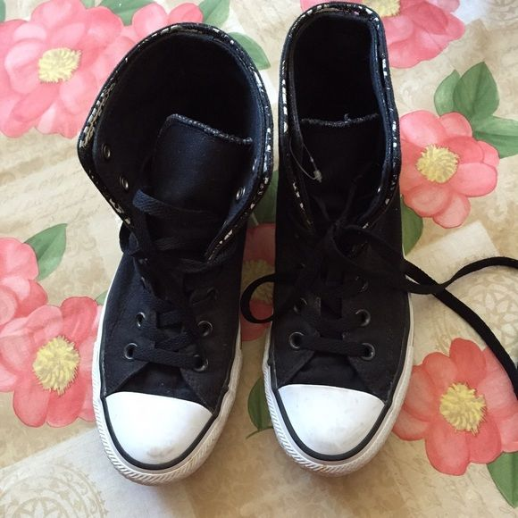 36dffd6e8587 Preloved Converse High tops Black and white Converse. Patterned fold over.  Dirty but wearable. Size 8 women