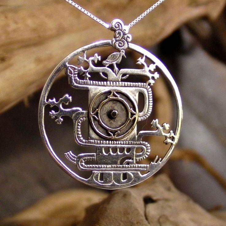 Mayan World Tree Pendant Silver and Gold