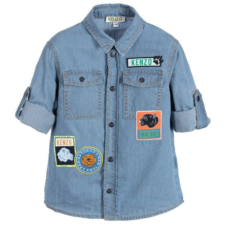 Kenzo Boys Denim Shirt With Patches | New Collection