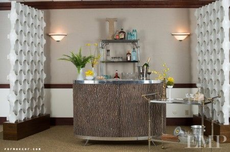 A #diy #bark bar and bar cart can spice up any open bar! #wedding #bridal www.formdecor.com/blog