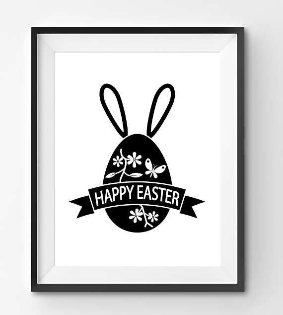 Happy Easter Print with Funny Bunny Ears and Floral Egg Happy