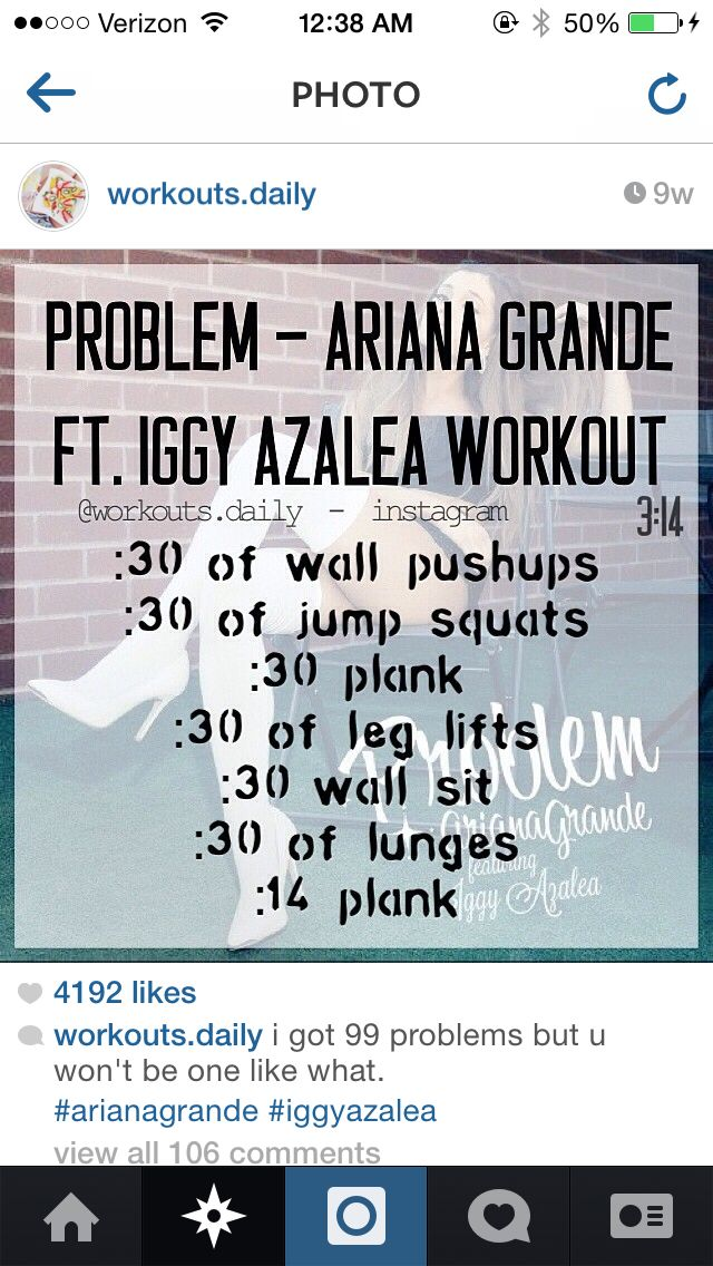 One Song Workout: Problem by Ariana Grande ft. Iggy Azalea