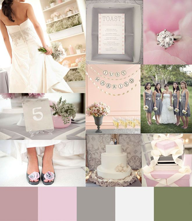 Love This Pale Pink Green Gray Wedding Color Palette
