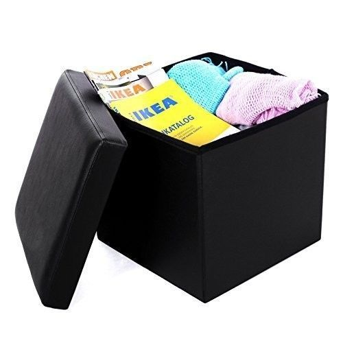 Black Leather Storage Ottoman Square Furniture Footrest Footstool Pouf Box  Home #SONGMICS #Home - 17 Best Images About Ottomans, Foot Stools And Storage Furniture