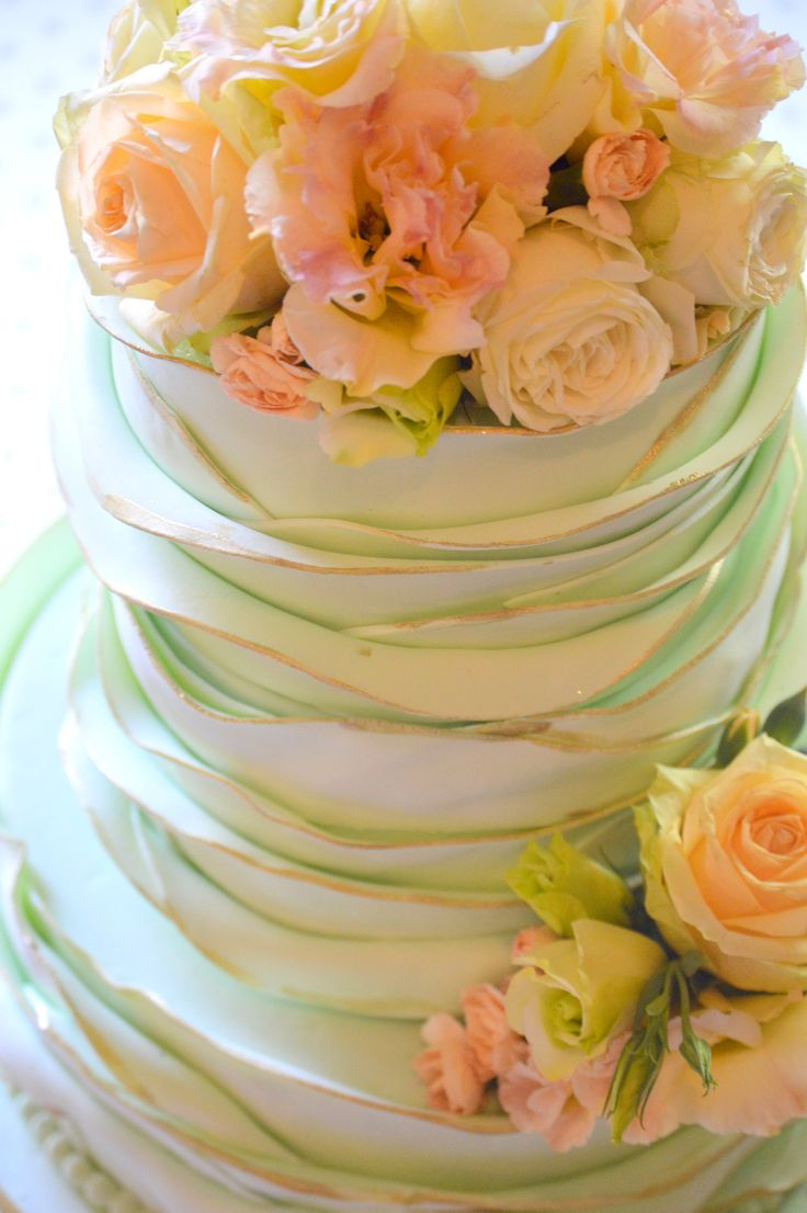 mint green ruffle cake