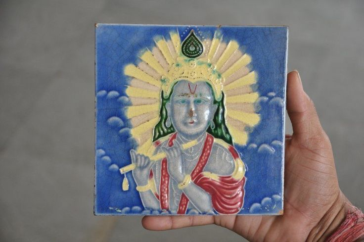 Vintage Fine Lord Krishna Picture Embossed Ceramic Tile , Japan?