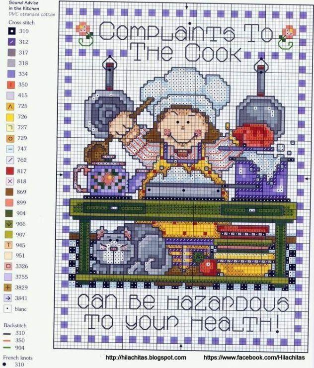 0 point de croix humour cuisiniere - cross stitch humor cook