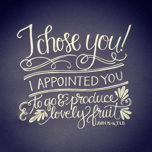 John 15:16, TLB  | hand lettering artwork by Andrea Howey via www.instagram.com/andrearhowey