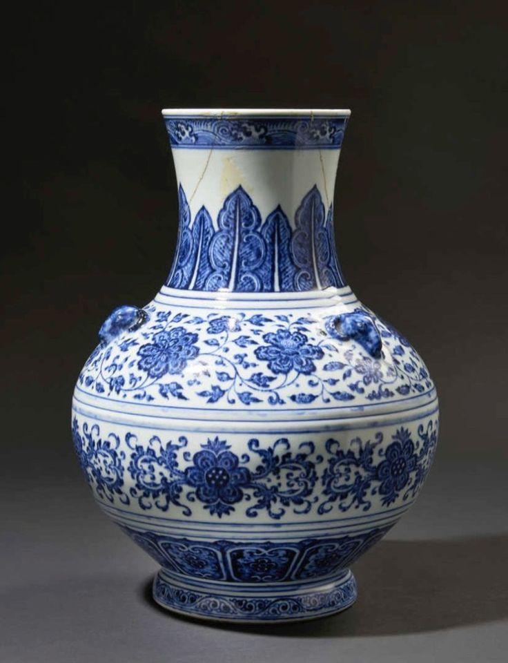 13 - €400,000. China, Yongzheng period (1723-1735), palace vase with blue underglaze decoration. H.: 35 cm. Pescheteau-Badin, soild on 13 June 2015. #Vase #Chine #Ceramique #Bleu