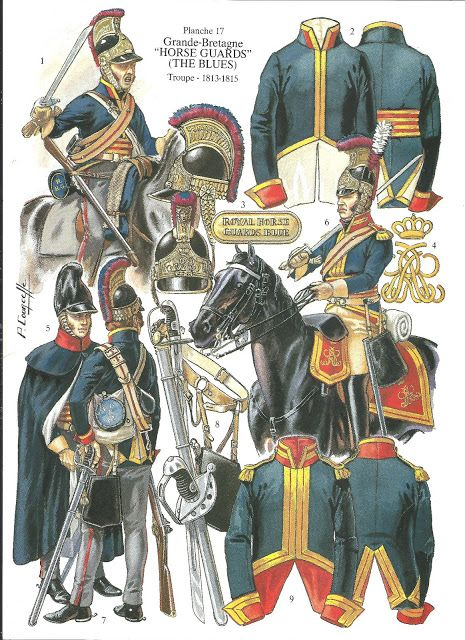 soldatini uniformi e storia militare: Horse Guards (The Blues) Troupe 1813-1815