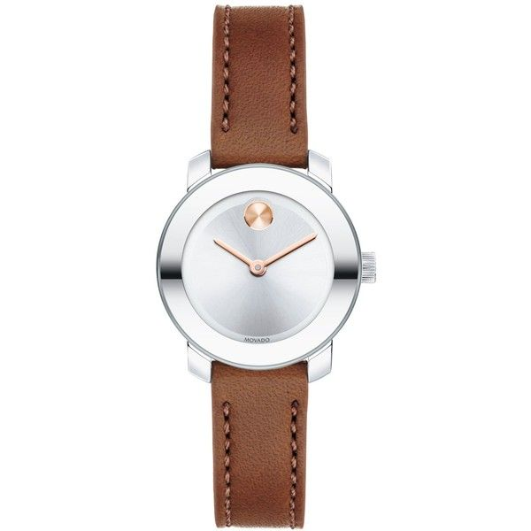 Movado Women's Swiss Bold Cognac Leather Strap Watch 25mm 3600328 (£305) ❤ liked on Polyvore featuring jewelry, watches, no color, leather strap watches, movado watches, movado, movado wrist watch und movado jewelry