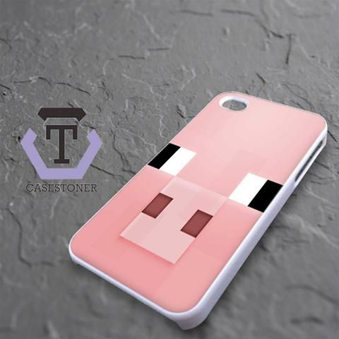 Minecraft Pig Pink Head iPhone 4|iPhone 4S Black Case