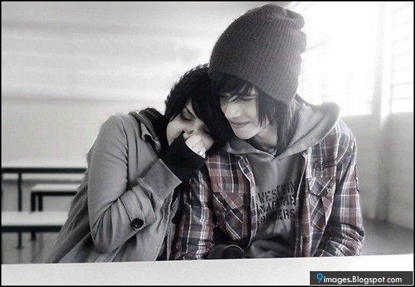 Cute Emo Couples Cartoons | emo-couple-lo+e-hug-cute-feelings.jpg