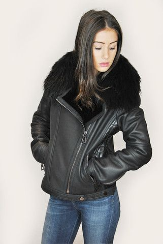 JESSIMARA BLACK SHEEPSKIN & RACCOON FUR BIKER JACKET