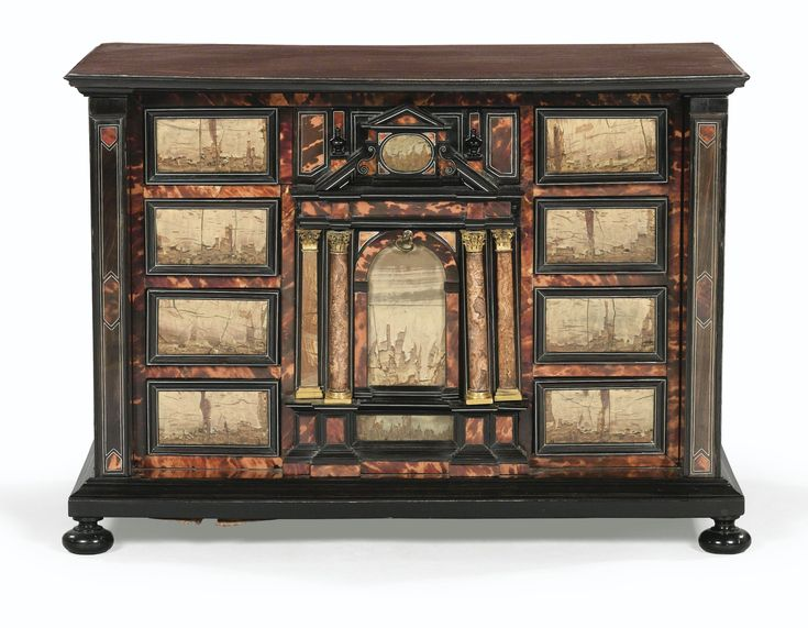 AN EBONY, TORTOISESHELL, PAESINA AND GILTBRONZE CABINET,  ROMAN, SECOND HALF OF THE 17TH CENTURY