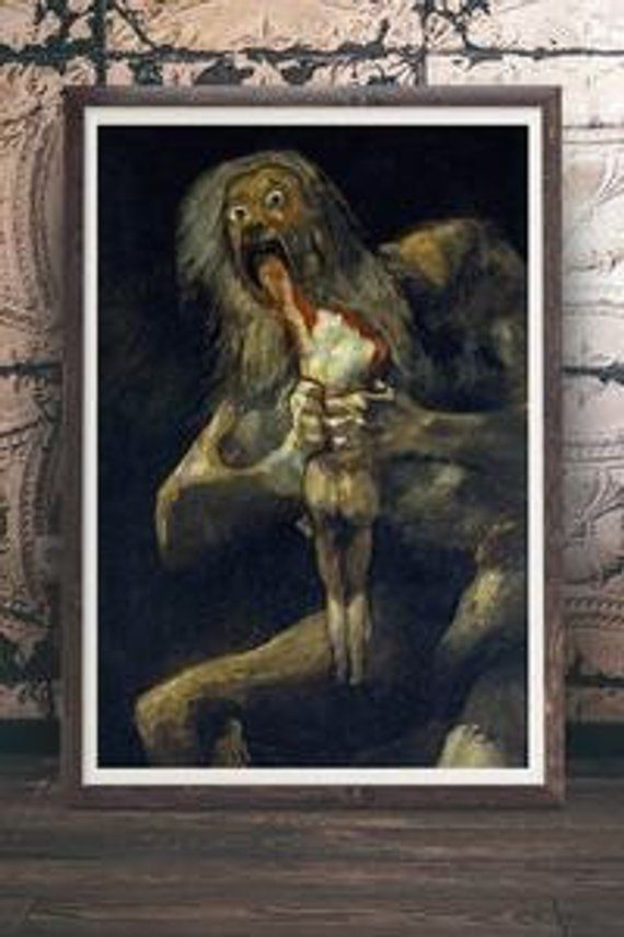 Francisco Goya Saturn Devouring His Son Macabre Occult Etsy
