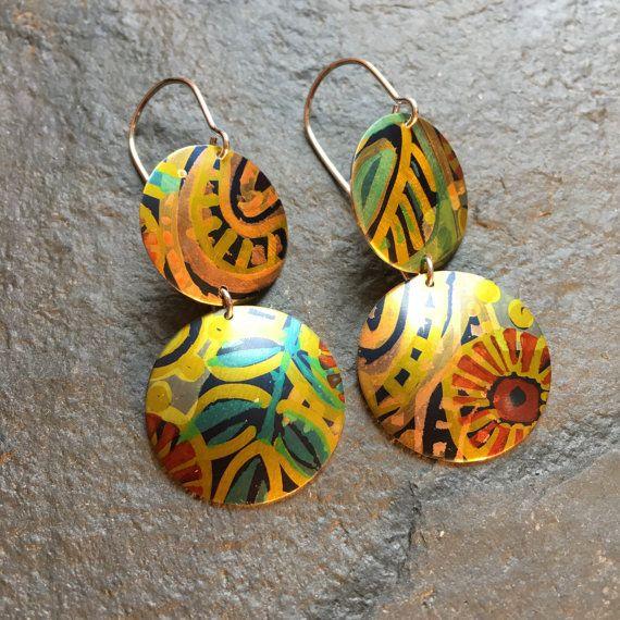 Double drop earrings / domed / anodised aluminium / Folk