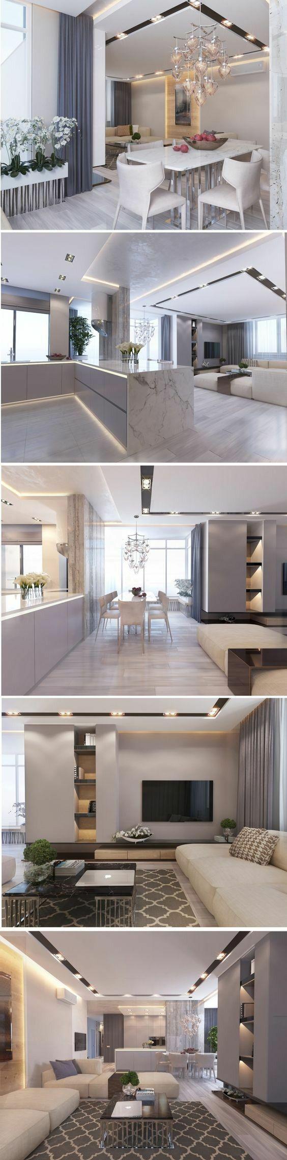 kitchen, living room, family