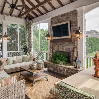 porch fireplace design ideas pictures remodel and decor page 2 - Screen Porch Ideas Designs