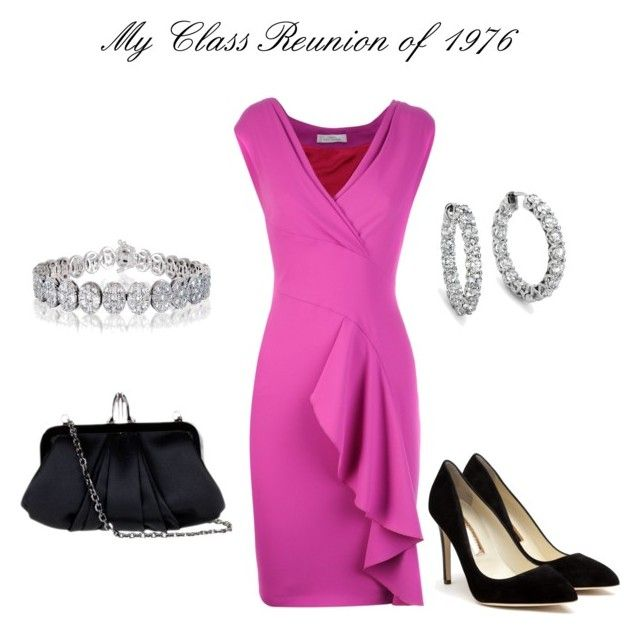 Class Reunion Outfit by goldieazcmd on Polyvore featuring polyvore, fashion, style, Versace, Rupert Sanderson, Christian Louboutin, Blue Nile, clothing, dressy, pink, gorgeous and fancy