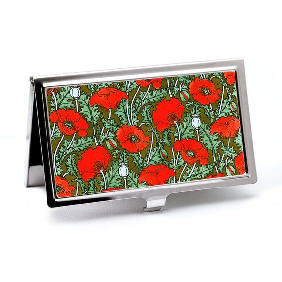 Red Poppy Business Card Case, Credit Card Holder – Art Nouveau Card Wallet –  ID Card Holder or Meta