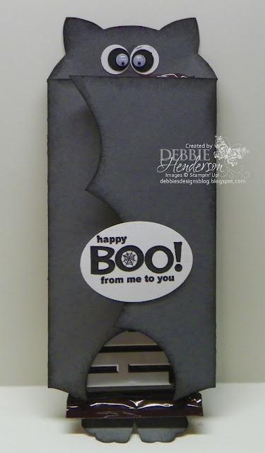 Bat Chocolate Bar Holder. Stampin' Up! products by Debbie Henderson, Debbie's Designs.