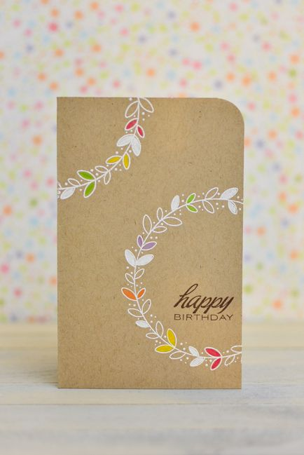 handmade birthday card ... clean and simple ... light kraft ... white stamp leaf wreaths ... one layer ...