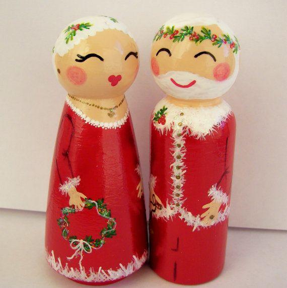 Hand Painted Love Boxes Santa &  Mrs Santa by handpaintedloveboxes