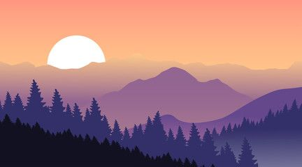 Beautiful sunset at mountains. Vector illustration