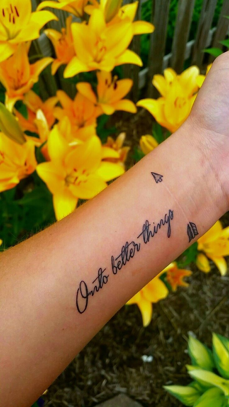 Arrow surrounding self-harm scars. Symbolizes how beauty can come from even the darkest nights. arrow tattoo, small, quote, cursive script, cute tatto…